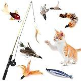 AVNICUD Katzen Federspielzeug Interaktives Spielzeug,Interaktives Katzenspielzeug Feder, Einziehbare Natürliche Federstab mit 8...