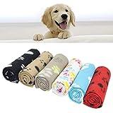 AK KYC gemischte Welpen-Decke, Kissen für Hunde und Katzen, Fleece-Decken, Schlafmatte für Haustiere, mit Pfotenabdruck, weich,...