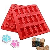 Joyoldelf Silikon-Back- und Eiswürfelformen, Hundepfoten und Knochen, Kuchenform für Süßigkeiten, Gelee, Schokolade, Kekse