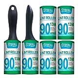 Fusselroller,STIROLL Extra klebrige Tierhaarentfernung, Staubentferner für Kleidung, Katzenhaare, Hundehaare, Packung mit 6...
