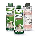 AniForte Barf-Öl Set 3 mit je 500ml Leinöl, Hanföl und Lachsöl für Hunde & Katzen – Naturprodukt, Kaltgepresst, Ohne...