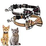 Kingkindsun Sicherheitsschnalle Katzenhalsband,Katzenhalsband mit Schleife Glocke in Schleife Katze, katzenhalsband mit Schleife...