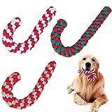 Frgasgds Hundespielzeug Seil Kauspielzeug für Weihnachten,3Pcs Tau Hund Spielzeug Hunde Spielzeug Seil Baumwolle Pet Kauen Seil...