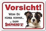 AdriLeo Schild - Achtung Australian Shepherd Tri-Color - Vorsicht sonst Shepherd´s - (20x30cm) / Aussie Hund Wachhund