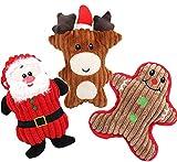 Dorakitten Hundespielzeug Weihnachten, 3 Stück Weihnachtshund Quietschspielzeug Kauspielzeug Plüsch Welpenspielzeug Weihnachten...