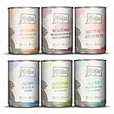 MjAMjAM - Premium Nassfutter für Katzen - Mixpaket 3 - Wild & Kaninchen, Pute, Ente & Geflügel, Herzen, Huhn, Rind, 6er Pack (6...