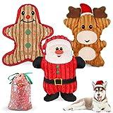 Dreamon Weihnachts Hundespielzeug, 3pcs Kauspielzeug Plüsch Welpenspielzeug Interaktives Spielzeug Kauen Spielzeug mit Klingen...