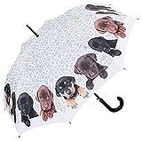 VON LILIENFELD Regenschirm Welpenquartett Auf-Automatik Damen Hunde Kinderschirm Stockschirm