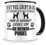 Samunshi® Ich denke an meinen Pudel Hunde Tasse Kaffeetasse Teetasse Kaffeepott Kaffeebecher Becher H:95mm/D:82mm schwarz