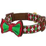 Blueberry Pet 1,5cm S Weihnachtsfeier Hundehalsband im Argyle-Stil mit Fliege, Kleine Halsbänder für Hunde